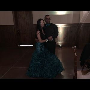 Jovani Hunter Green Ruffle Prom Dress